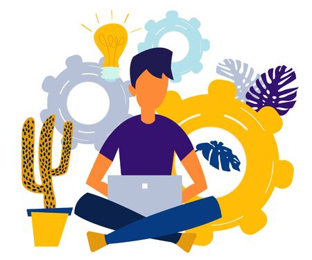 vector illustration of a boy online assistant at work. promotion in the network. manager at a remote job Vettoriali