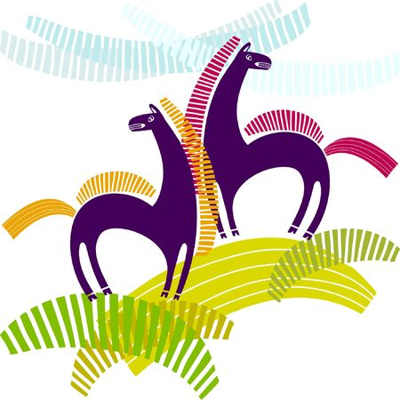 Twins horses, cartoon stylized horses on white background. Striped tabby brindled designed nag. Çizim