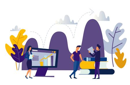 business people Vector flat illustration, business promotion, take-off on the career ladder, data analysis and investment infographics overview