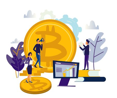 vector illustration finance. graphic elements onlain investing analysis of crypto currency. people invest in coin bitcoin. Trends colors and stylish flat graphics Stock Photo