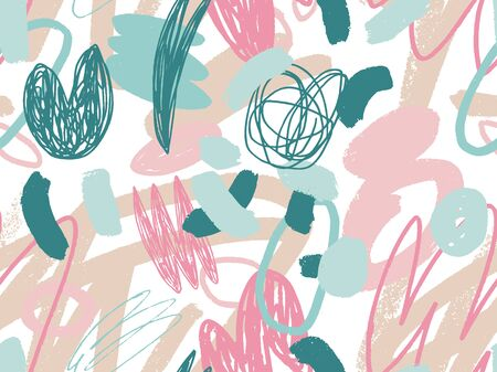 Seamless abstract doodle background pattern in bright summer positive colors. Hand-drawn abstract pattern with randomly arranged spots and dots and lines. Pencil and paint texture. Stock Photo