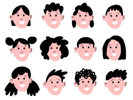 Vector cartoon style illustration set of different man and woman hairstyles. Stylish modern male haircut: long hair, short hair, curly hair fashion icons. Illustration