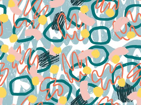 Geometric Vector pattern with black and white. Form a triangle, a line, a circle. Hipster fashion Memphis style. Retro Memphis 80s or 90s style fashion abstract background seamless pattern.