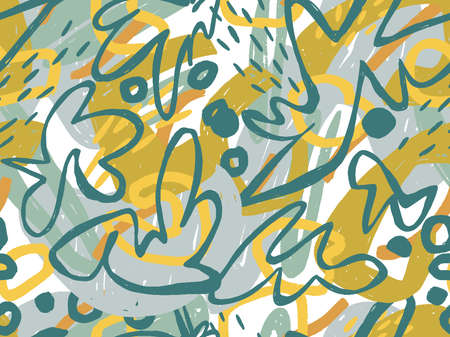 Seamless abstract doodle background pattern in bright summer positive colors. Hand-drawn abstract pattern with randomly arranged spots and dots and lines. Pencil and paint texture. Illustration