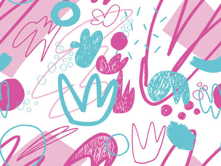 Seamless abstract doodle background pattern in bright summer positive colors. Hand-drawn abstract pattern with randomly arranged spots and dots and lines. Pencil and paint texture. Vectores