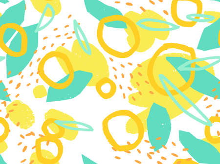Seamless abstract doodle background pattern in bright summer positive colors. Hand-drawn abstract pattern with randomly arranged spots and dots and lines. Pencil and paint texture. Ilustração