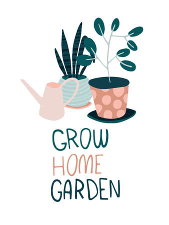 Quarantine activities letterings and other elements. Things to do at home. Grow home garden. Vector illustration. Vectores