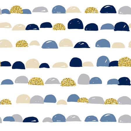 Abstract cute colorful semicircle moon design with white background and gold texture, pattern seamless backdrop wallpaper.
