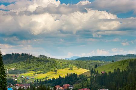 summer Carpathian mountains green grass and blue sky landscape