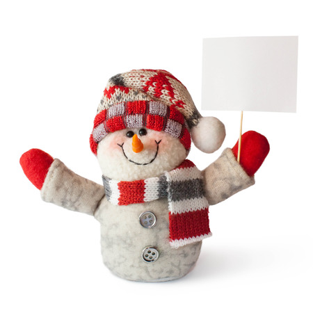 sign blank: Christmas and New Year snowman with sign blank on a white background