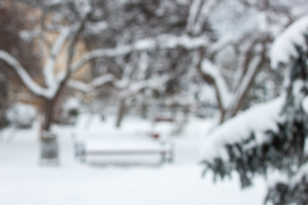 Blurred winter background. Winter city park with bench and trees covered snow