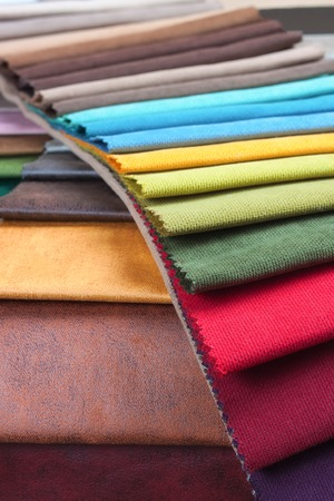 Color samples of a upholstery fabric Stockfoto - 96526007
