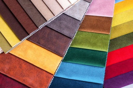Color samples of a upholstery fabric Stockfoto - 96480991