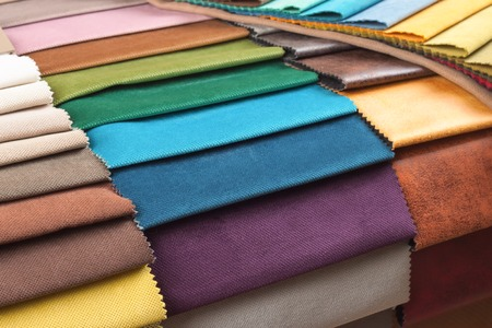 Color samples of the upholstery fabric in the assortment Stockfoto - 97852735