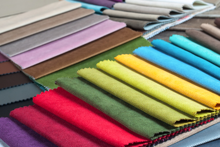Color samples of the upholstery fabric in the assortment Stockfoto - 98002773