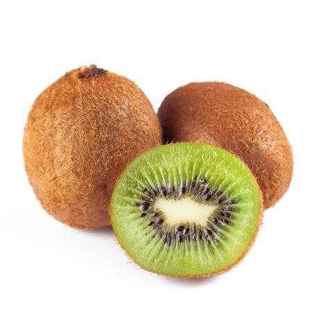 Ripe kiwi fruit and half kiwi fruit isolated on white background