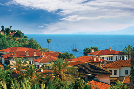 Panoramic views of the roofs old town Antalya. Stockfoto