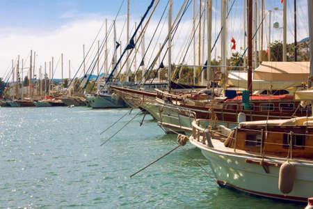 Yacht parking in harbor of the Aegean sea. Turkey Bodrum. Seascape
