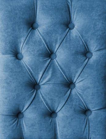 Blue capitone velours textile decoration with buttons