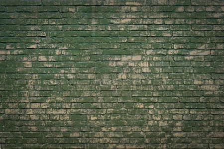 Green grunge brick wall background