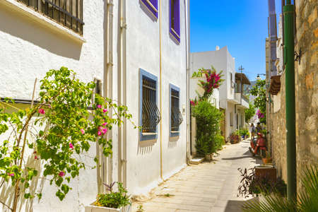 Narrow street in old town of Bodrum, Turkey . Beautiful scenic old ancient white houses with flowers. Popular tourist vacation destination Stock Photo
