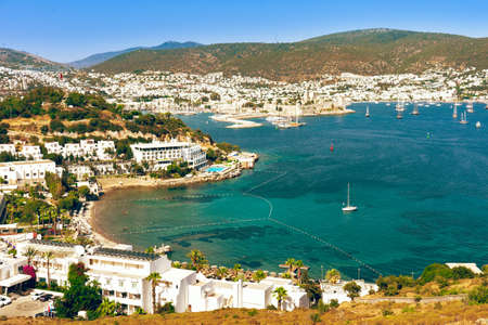 Panoramic view of Bodrum city, Turkey and Saint Peter Castle and marina. Summer landscape, popular travel destination