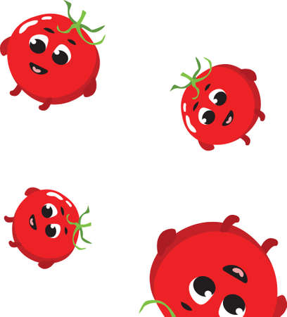 seamless pattern with cute tomato, endless texture of vegetables in flat style
