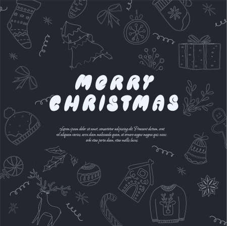 christmas banner template with inscription merry christmas and decorative elements, black and white color vector illustration in flat style with lettering