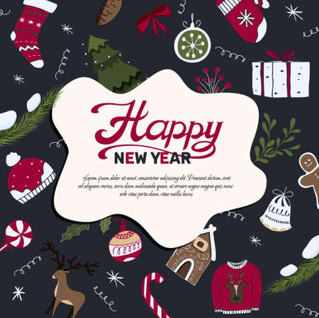 christmas banner template with happy new year wish and decorative elements, vector illustration in flat style with lettering Illusztráció