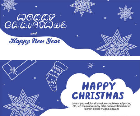 Christmas banner template with lettering and hand drawn seasonal elements, vector illustration in flat style 向量圖像