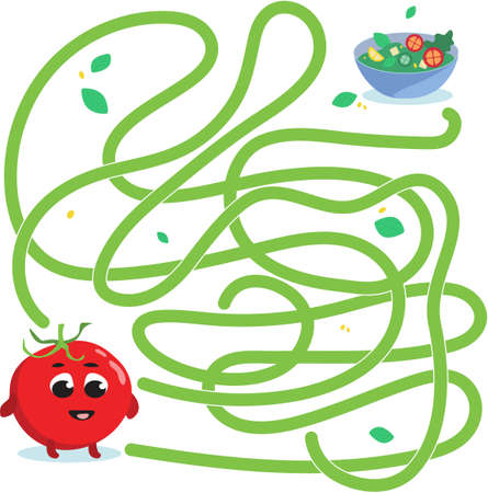 Help cute tomato find path to salad. Labyrinth. Vegan maze game for kids. Vector illustration on white background.