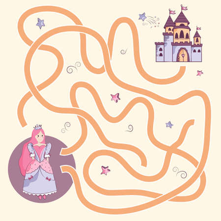 help the beautiful princess find the right path to the castle. Maze, logic game for little girls, vector illustration in flat style