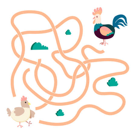Help cute hen find path to rooster. Labyrinth. Animal maze game for kids. Vector illustration on white background. 向量圖像