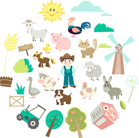 cute farm animal set in flat style on isolated background. Cartoon animals collection, farmer, barn, trees, tractor, mill, pointer 向量圖像