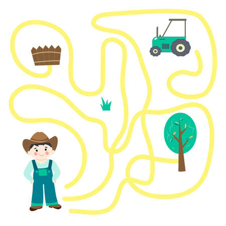 Educational game for preschool children. help the farmer get to the tractor. Labyrinth. Cute vector illustration in flat style.