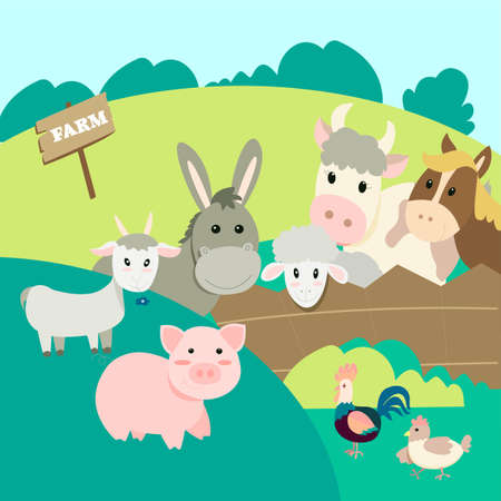 farm animals in the landscape background, pig, donkey, cow, rooster, chicken, goat, sheep, horse peeking out from behind the fence, cute cartoon illustration in flat style.