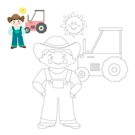 coloring page with young farmer and his tractor. Black and white vector illustration in a cartoon flat style