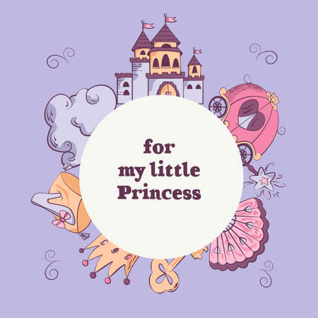 vectors template with castle, cloud, carriage, shoe, fan, crown, golden key, magic wand. Greeting card for little girls. Vetores
