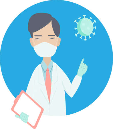 a doctor warns of the danger of coronavirus, a masked man with a raised finger and a folder in his hand