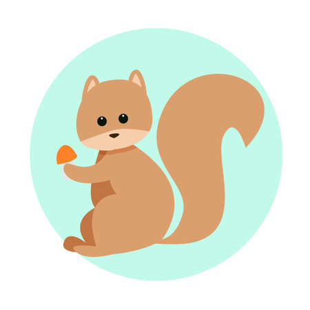 Cartoon squirrel with mushroom in its paws on isolated background, cute vector illustration in flat style and pastel colors for childish design