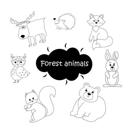 Black and white set of vector forest animals isolated on white background, illustration for coloring pages in cute cartoon style 矢量图像