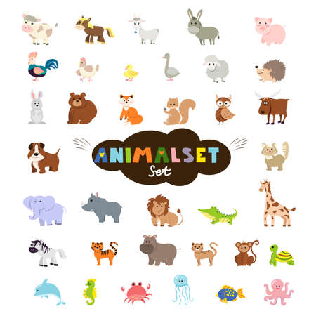 Big set of cute domestic, wild animals and marine mammals. Collection of cartoon characters isolated on white background. Colorful vector illustration in flat design 矢量图像