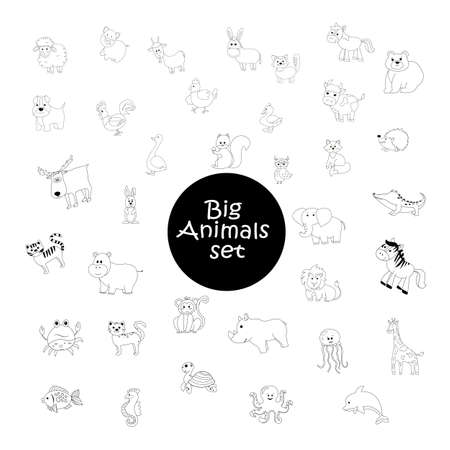 Big set of black and white cartoon domestic, wild animals and marine mammals, cute vector illustration for coloring book 矢量图像