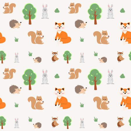 Seamless pattern with cute woodland animals and trees. Vector illustration with forest inhabitants - owl, fox, hare, squirrel and hedgehog. Endless texture 矢量图像