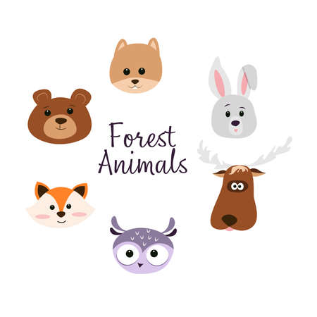 Set of cute vector characters - faces of forest animals, fox, bear, hare, moose, squirrel, hedgehog and owl. Design in cartoon style and pastel colors, for children's design.