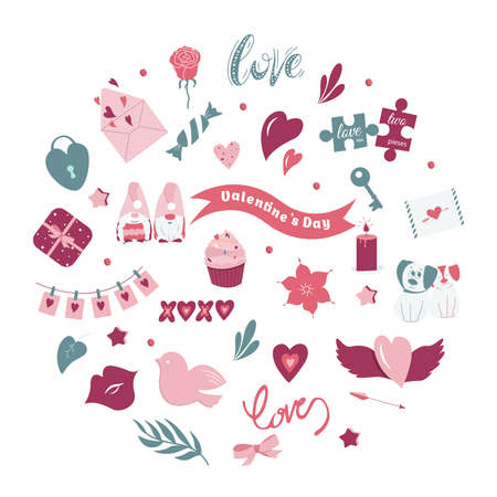 Valentine's day big vector set. Many various romantic objects isolated on background. Vector illustration