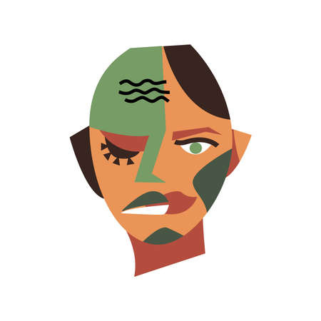Surreal isolated man portrait. Abstract face. Modern graphics, vector illustration Ilustracje wektorowe