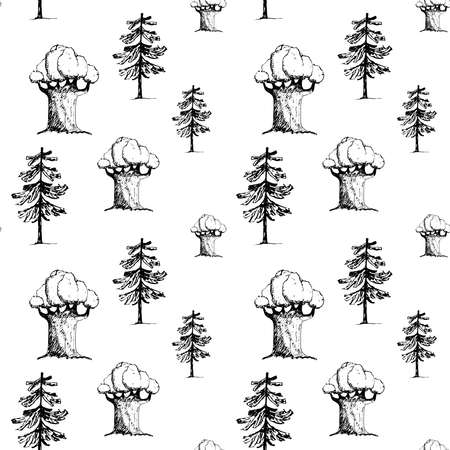 Seamless pattern with stylized detailed trees. Monochrome pattern with coniferous and deciduous trees. Vector hand drawn illustration