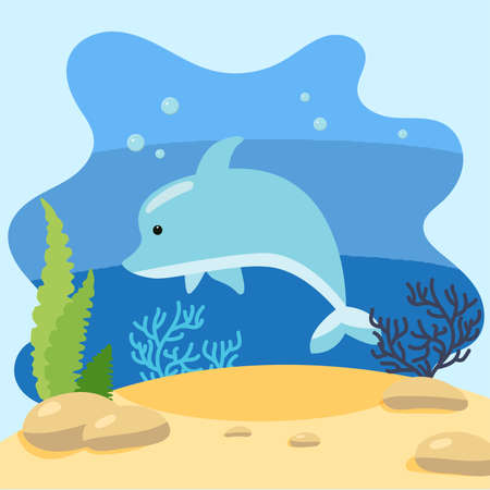 Cute dolphin on the background of the seascape. Isolated vector illustration in the seabed. Design concept with marine mammal. Cartoon style