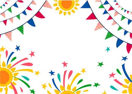 Festa Junina background. Brazilian National Festival. Vector illustration with flags, salutes. Vector Illustration